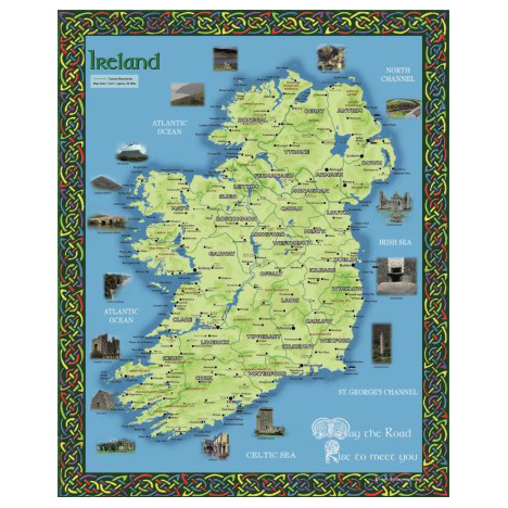 Print Map Of Ireland.10 X 8 Print Map Of Ireland Killarney Printing Irish Souvenirs