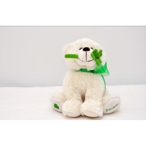 White Fluffy Bear w_Shamrock Ref- 30117