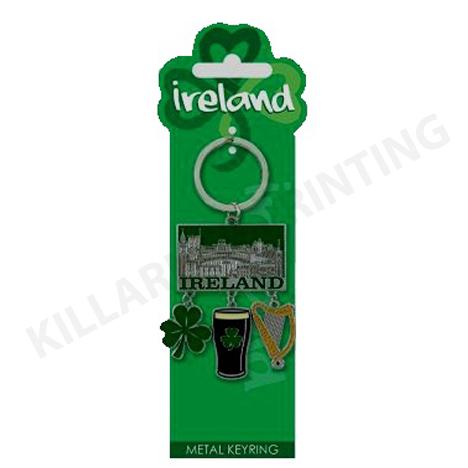Ireland Charm Keyring – Harp, Shamrock & Stout Ref: 70505