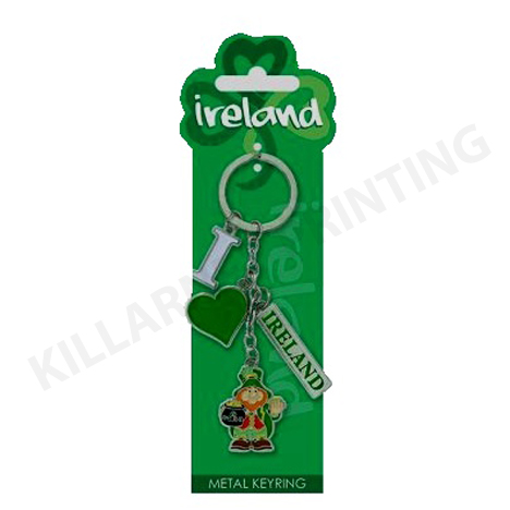 Ireland Charm Keyring – I Love Ireland & Leprechaun Ref: 70438